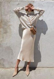 slip skirt άσπρο πουλόβερ