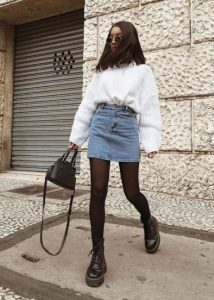 τζιν φούστα άσπρο πουλόβερ