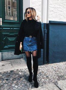 τζιν φούστα μαύρο πουλόβερ μπότα