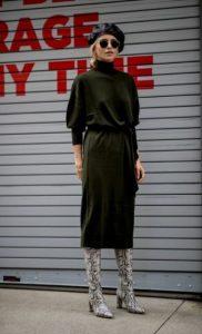 χακί πλεκτό φόρεμα μπερές φθινοπωρινά φορέματα
