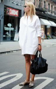 άσπρο φόρεμα πουκάμισο