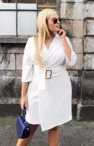 άσπρο φόρεμα wrap ζώνη