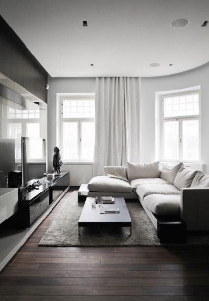 ασπρόμαυρο σαλόνι άσπρος καναπές