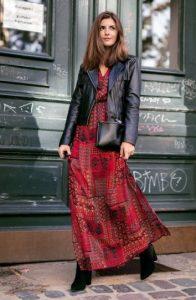 κόκκινο boho φόρεμα μαύρο δερμάτινο