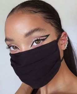 μακιγιάζ σε κοπέλα με μάσκα