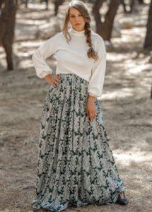 μακριά floral φούστα