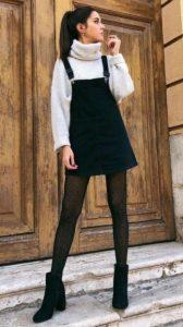 μαύρο φόρεμα άσπρο πλεκτό