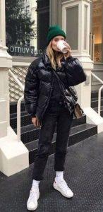 μαύρο γυναικείο puffer jacket