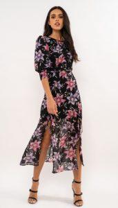 μαύρο midi φόρεμα με λουλούδια