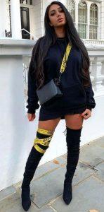μαύρο ντύσιμο με φούτερ
