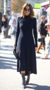 μαύρο πλεκτό φόρεμα midi