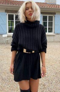 μαύρο πλεκτό φόρεμα ζώνη καθημερινά φορέματα