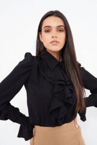 μαύρο πουκάμισο με φραμπαλά