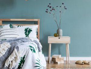 Schlafzimmer blaue Wand