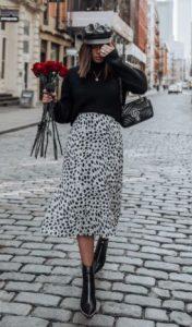 πουά ψηλόμεση φούστα μαύρο πουλόβερ