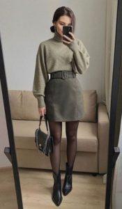 πράσινη φούστα πουλόβερ μποτάκι