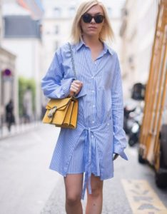ριγέ φόρεμα πουκάμισο γαλάζιο