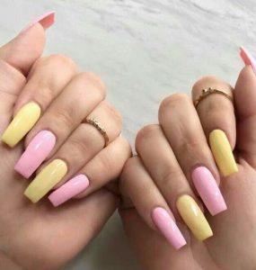 ροζ κίτρινα νύχια