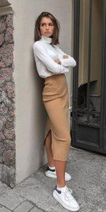 χειμωνιάτικο ντύσιμο με midi φούστα