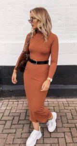 χειμωνιάτικο πορτοκαλί φόρεμα