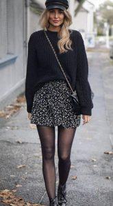 χειμωνιάτικο σύνολο με μίνι φούστα