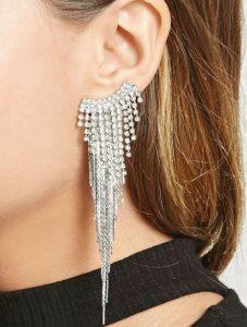 ασημένια λαμπερά σκουλαρίκια