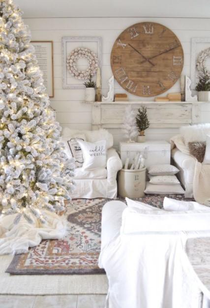 άσπρα έπιπλα άσπρο χριστουγεννιάτικο δέντρο