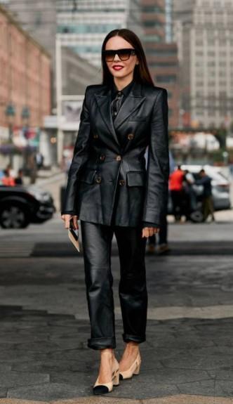 δερμάτινο κοστούμι μαύρο