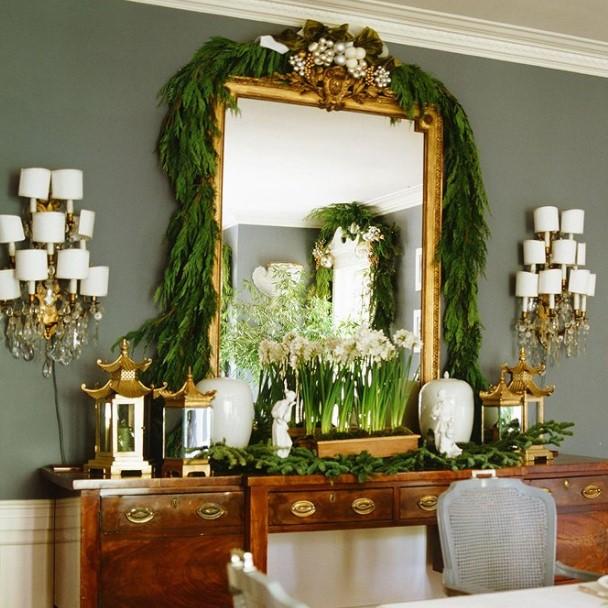 καθρέπτης γιρλάντα μποφές χριστουγεννιάτικα διακοσμητικά τοίχου
