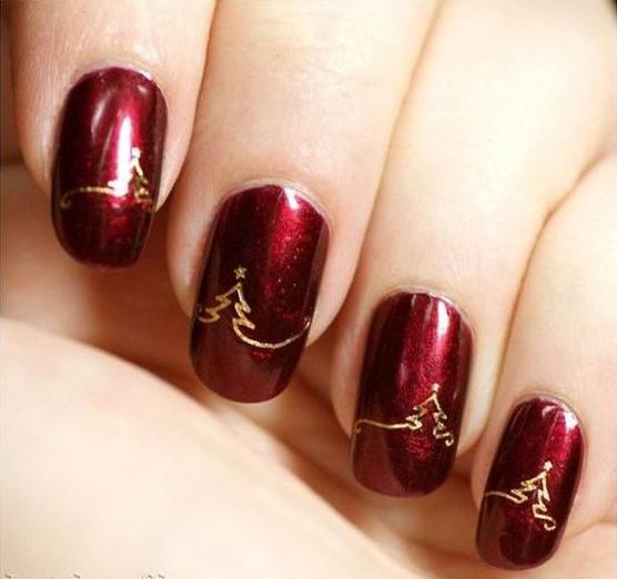κόκκινα νύχια χρυσά δέντρα 19 Όμορφα σχέδια για κοντά νύχια!
