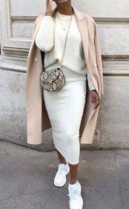 λευκό ντύσιμο με φούστα