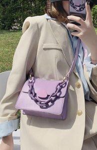 λιλά τσάντα χιαστί