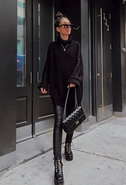 μαύρο κολάν αρβυλάκι συνδυάσεις παντελόνια μποτάκια