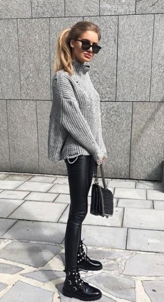 μαύρο κολάν γκρι πουλόβερ αρβυλάκι