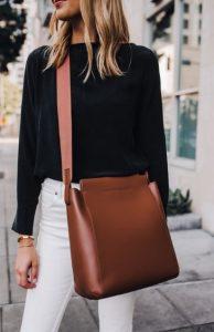minimal καφέ τσάντα
