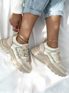 μπεζ άσπρα sneakers