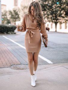 μπεζ χειμωνιάτικο φόρεμα