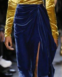 μπλε βελουτέ φούστα