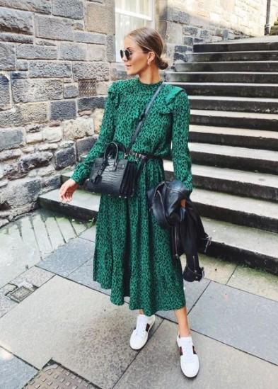 πράσινο animal print φόρεμα midi
