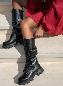 ψηλές μαύρες γυναικείες αρβύλες