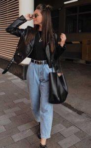 ψηλόμεσο τζιν μαύρο μπουφάν τζιν παντελόνι σωματότυπο