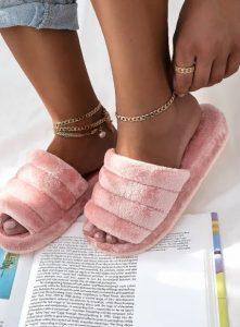 ροζ μαλακές παντόφλες