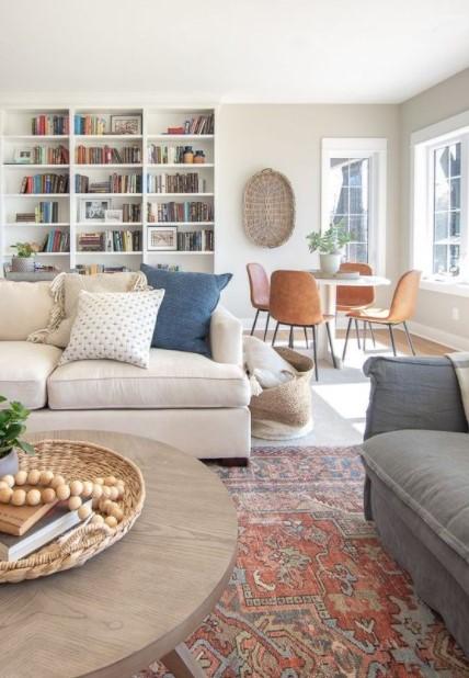 σαλόνι καναπές βιβλιοθήκη τραπεζαρία