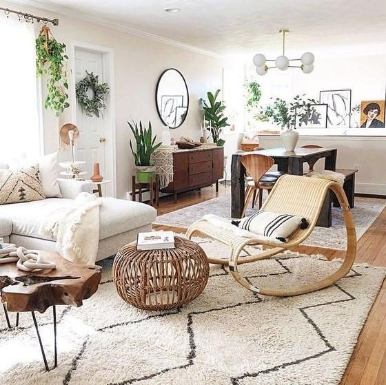 σαλόνι καναπές πολυθρόνα φυτά