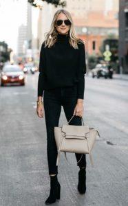 skinny μαύρο τζιν παντελόνι σωματότυπο μαύρο πουλόβερ