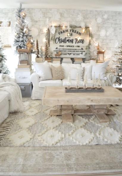 χριστουγεννιάτικο σαλόνι άσπρα χρώματα