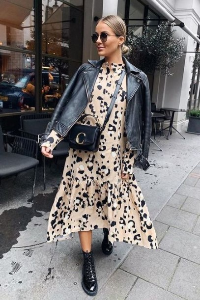 δερμάτινο jacket animal print φόρεμα