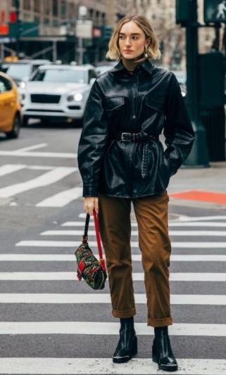 δερμάτινο jacket ζώνη