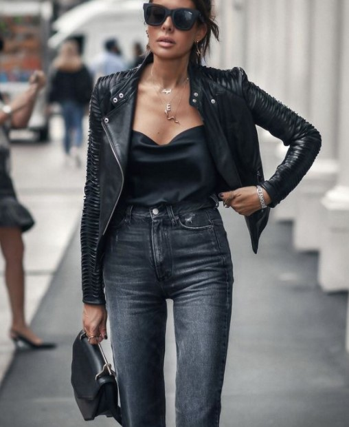 leather jacket τζιν παντελόνι