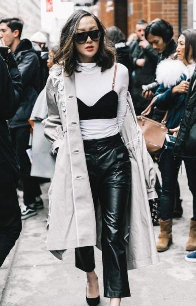 δερμάτινο παντελόνι μπουστάκι παλτό